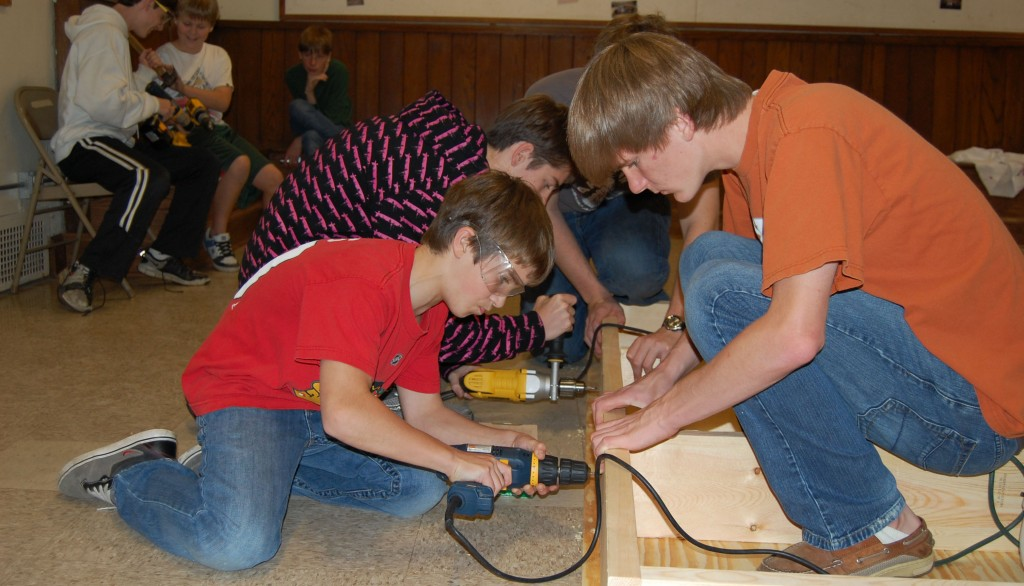 Troop 18 Scouts Build Eagle Project Together
